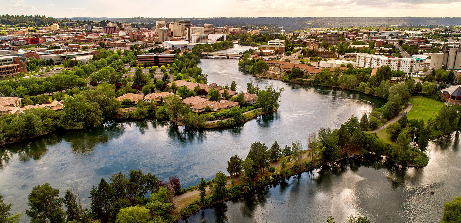 Aerial View of the Spokane River