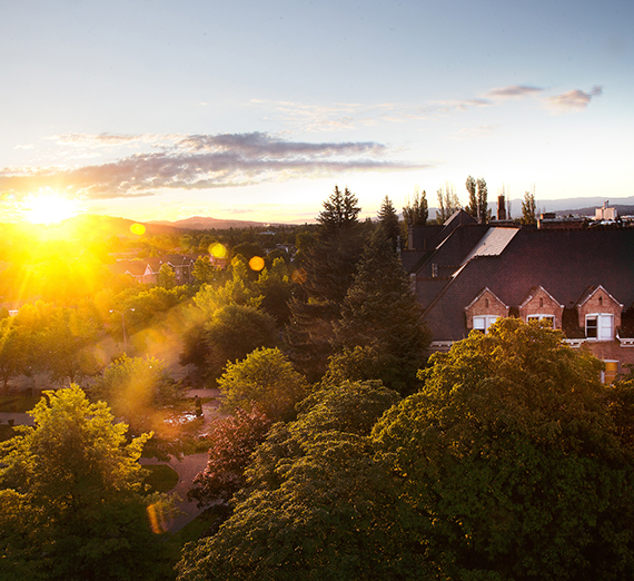 The sun rises over the Gonzaga Campus.
