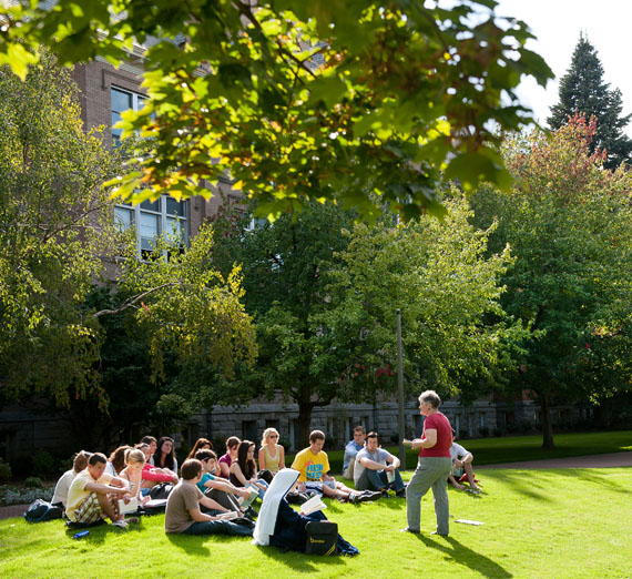 students having class outside of college hall