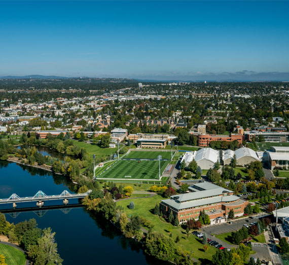 drone view of campus