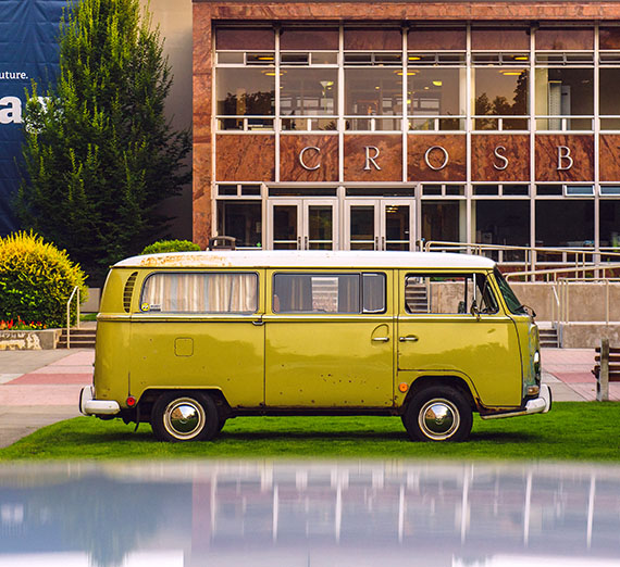 VW Bus parked in front of Crosby