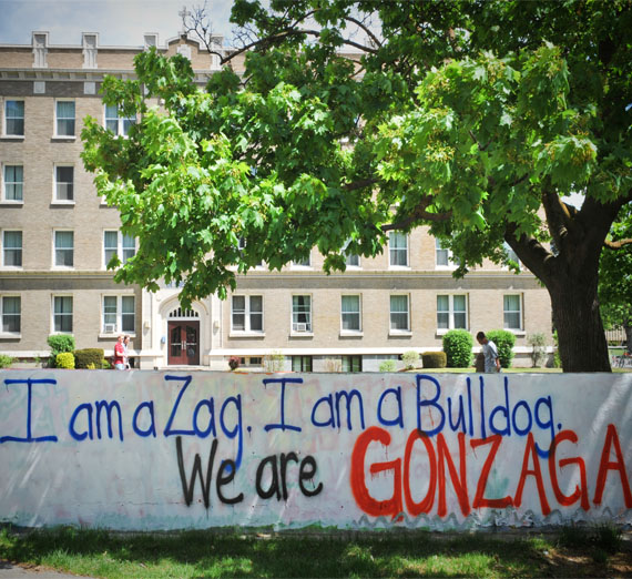 "Wall art on campus that says ""I am a Zag. I am a Bulldog. We are Gonzaga"""