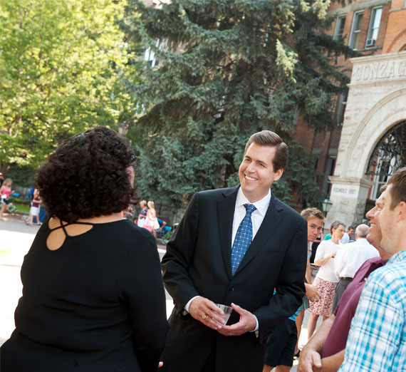 president Mcculloh speaks with visitors