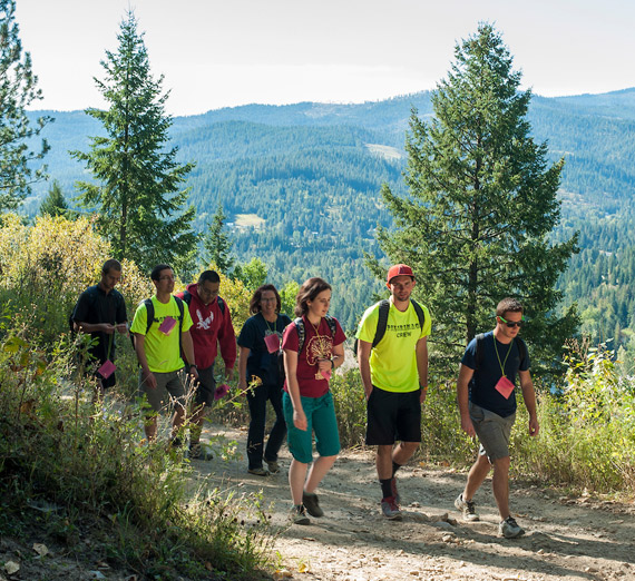 Students walking on a trail