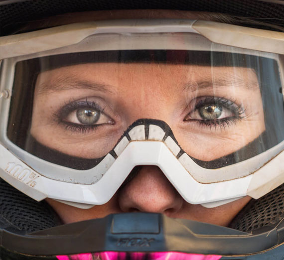 Victoria Indaco ('15, B.S. Mechanical Engineering) in a baja racecar helmet