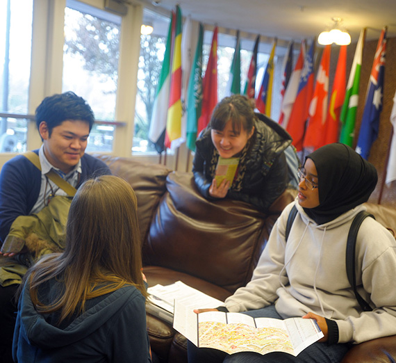 International students looking at a map