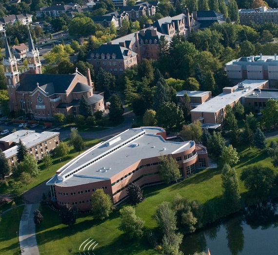 An aerial view of the Gonzaga University campus
