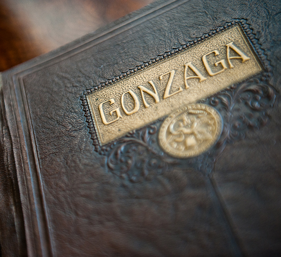 Historical leather bound book with Gonzaga title
