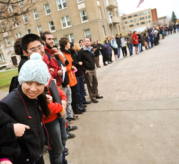 Students, faculty, and staff formed a human chain in front of Crosby to support the International Day of Tolerance on Nov. 16, 2010.