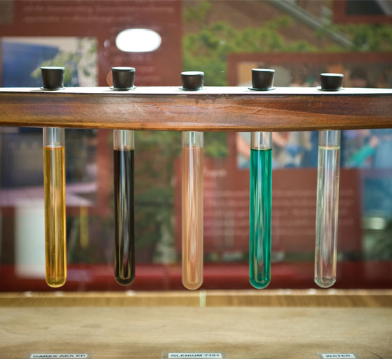 Beakers containing different colors