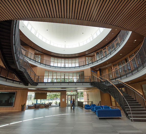 A view of the lobby inside the Hemmingson Center