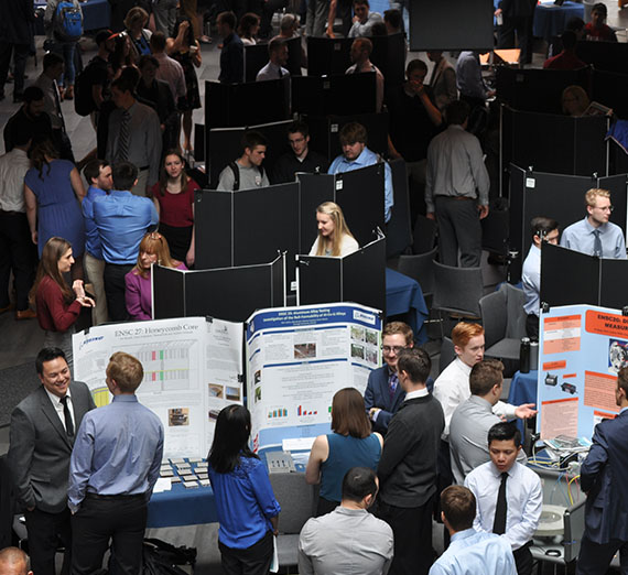 Crowd on Senior Design day