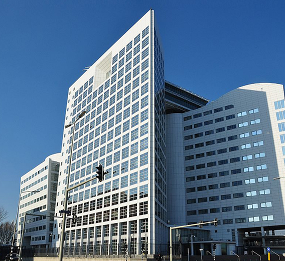 Image of the International Criminal Court building in The Hague, Netherlands