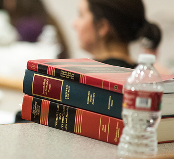 Gonzaga Law books and bottled water