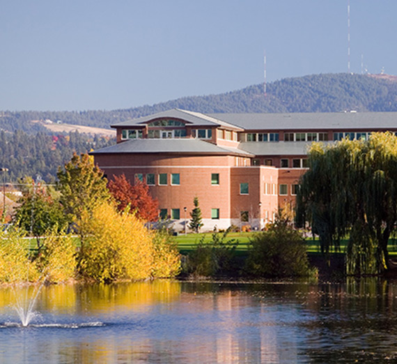 Law school in fall looking over lake
