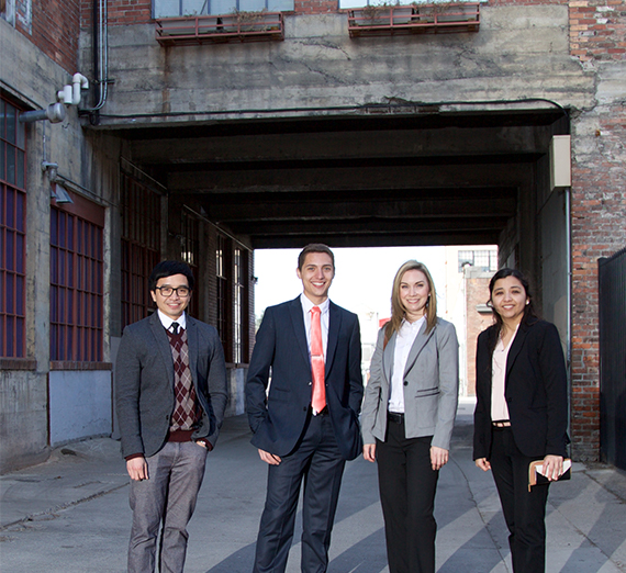 Group photo of law students in downtown alley