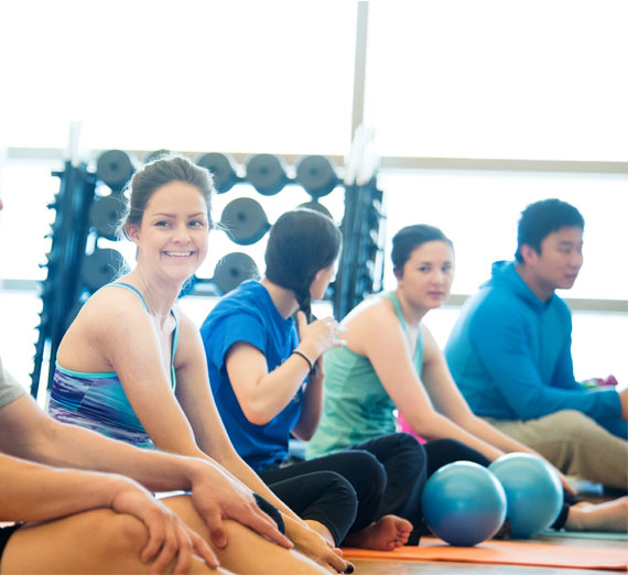 Students in a yoga class in the Rudolf Fitness Center