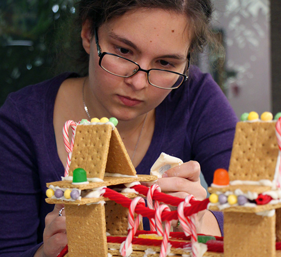 Civil engineer club builds gingerbread bridges