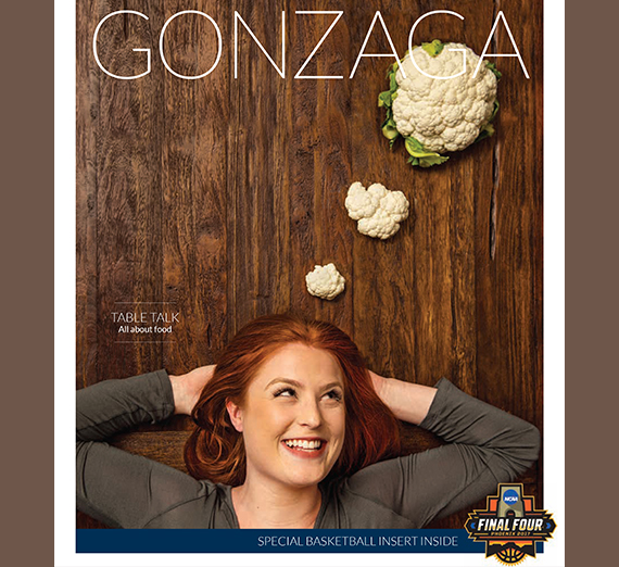 Gonzaga Magazine cover with food