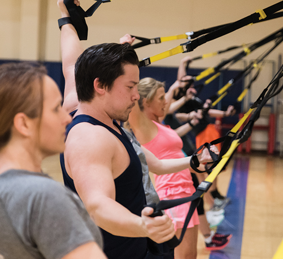 GU student participates in a fitness class