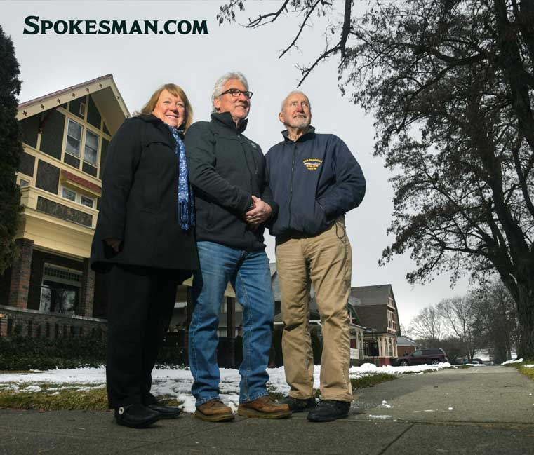 Linda Allen, left, and her brother Mike Allen, center, standing in their father Ray's home at the corner of Augusta and Astor in Spokane, WA. Mike now owns and lives in the house. Photo: Dan Pelle, THE SPOKESMAN-REVIEW