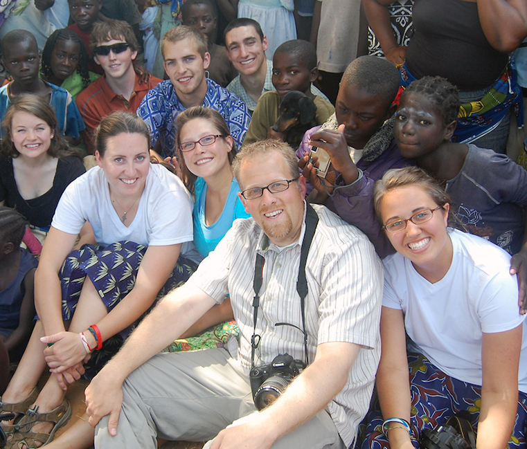 Gonzaga's Comprehensive Leadership Program students and director, Dr. Josh Armstrong, at a community event in Zambezi