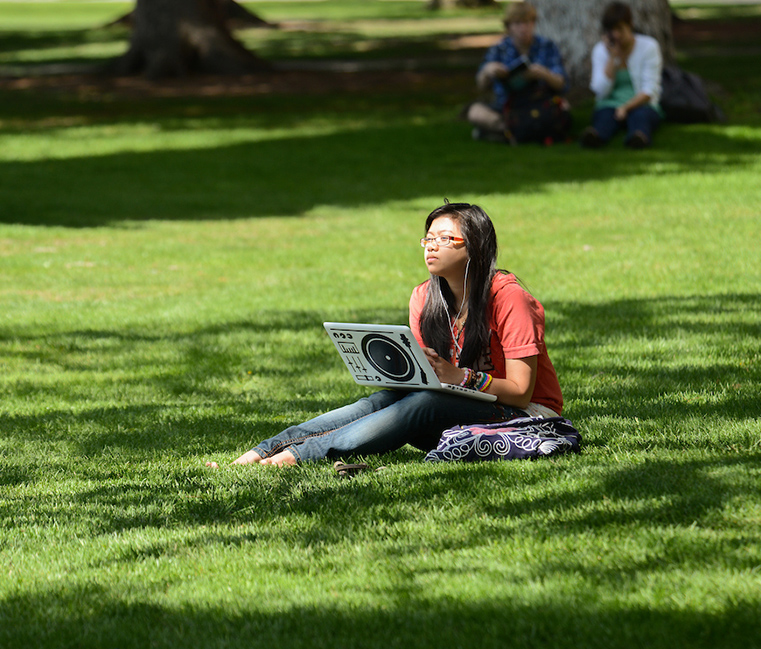 A student studies with her laptop on the grass.