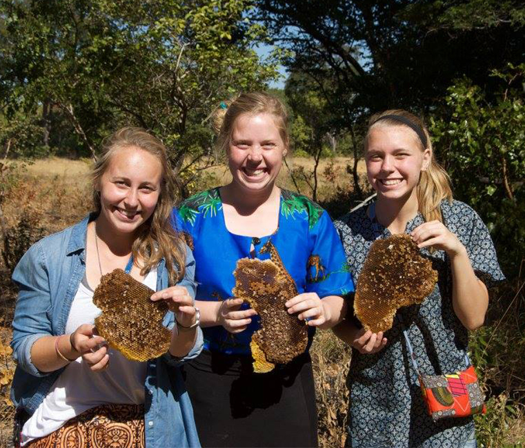 Comprehensive Leadership Program students with Zambia Gold honey