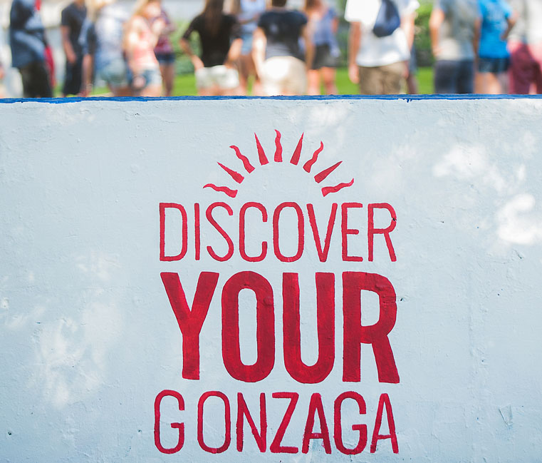"""Discover Your Gonzaga"" written on the Gonzaga wall."