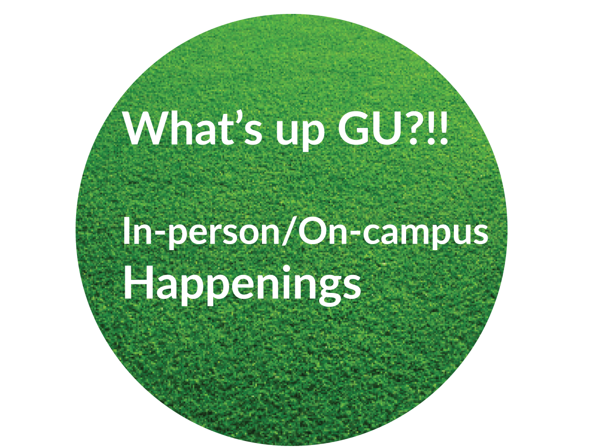 Green grass button with In-person written