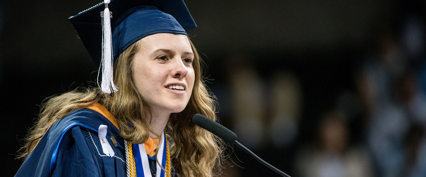 Molly Bosch speaks at commencement