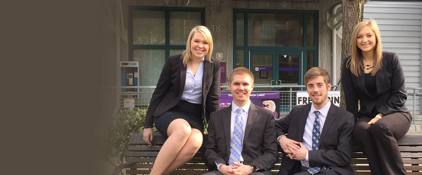 As juniors (from left) Emma Rabun, Conrad Nilsen, Josh Schacht and Jaclyn Zalesky captured first place in the Milgard Case Competition on Social Responsibility.