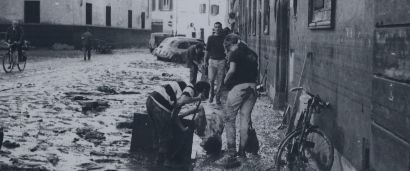 Gonzaga in Florence students serve as 'Mud Angels' during the Florentine Flood in the 1960s