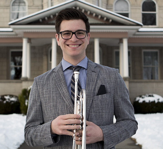 Portrait of Joe Panchesson, Trumpet Performance and Environmental Studies major