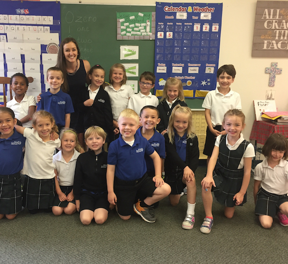 Megan Finnerty with her class
