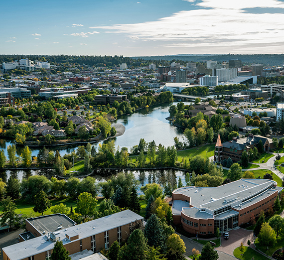 Aerial view of campus and downtown Spokane