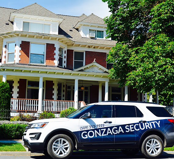 Security vehicle in front of Huetter Mansion