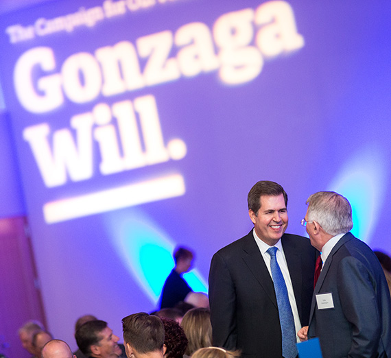 President McCulloh smiling at the Gonzaga Will campaign.