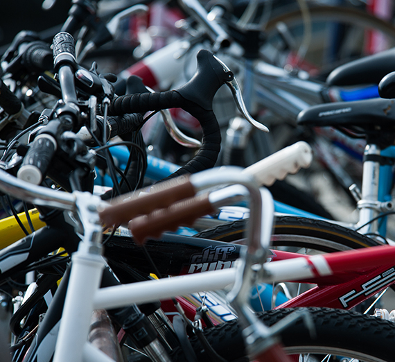 Closeup of bikes on a bike rack