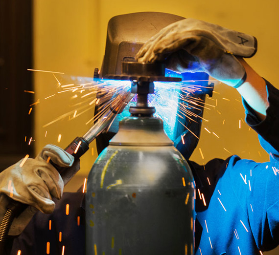 Engineering student welding
