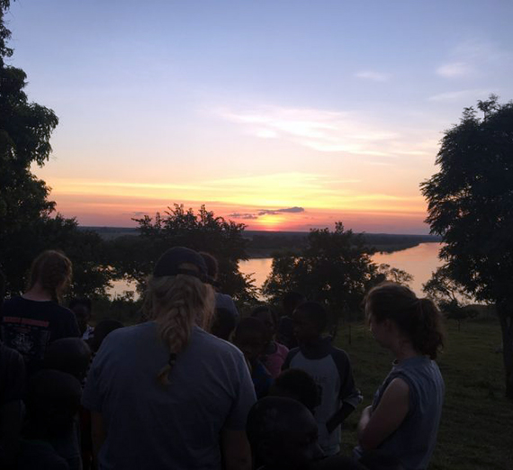 Students, sunset in Zambezi.