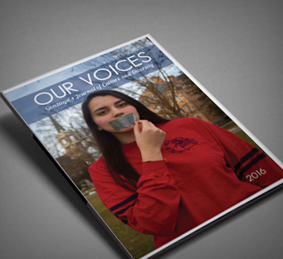 """Our Voices"" journal cover, 2016 edition"