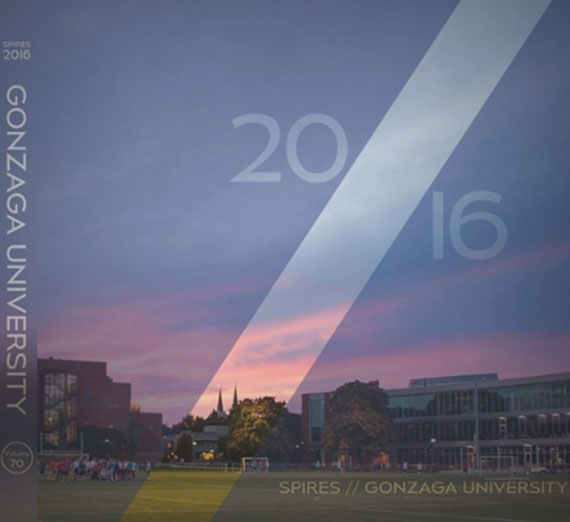 "2016 Spires yearbook cover, ""Gonzaga University 2016"""