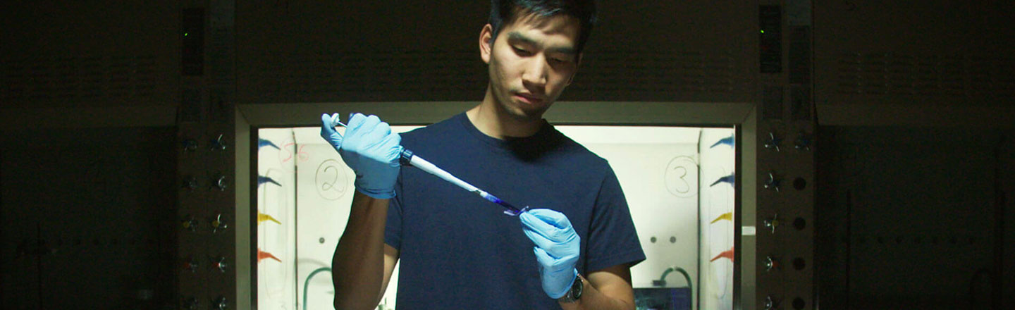 "Gonzaga biology major Sarin ""Putter"" Tiatrugal in the lab."