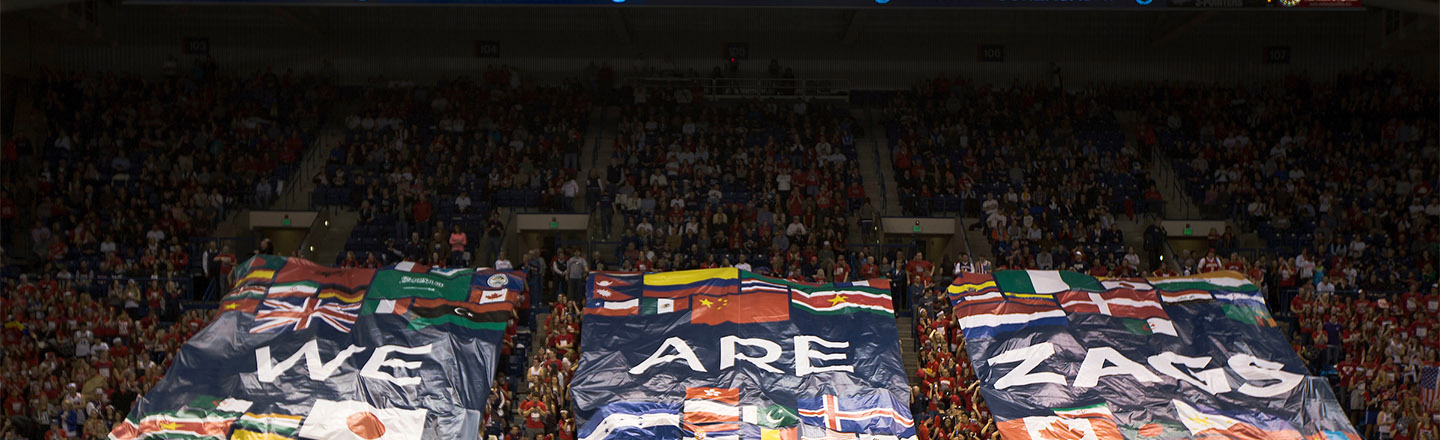 "Gonzaga crowd holding banners that read, ""We are Zags."""