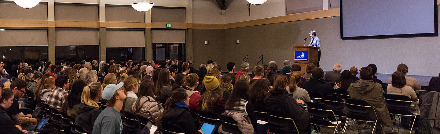 A humanities based presentation given by a speaker to a larger audience at Gonzaga University