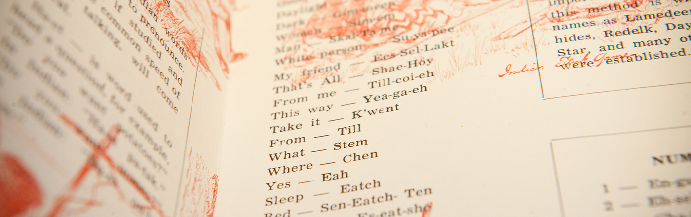 Close up of a Native American language textbook