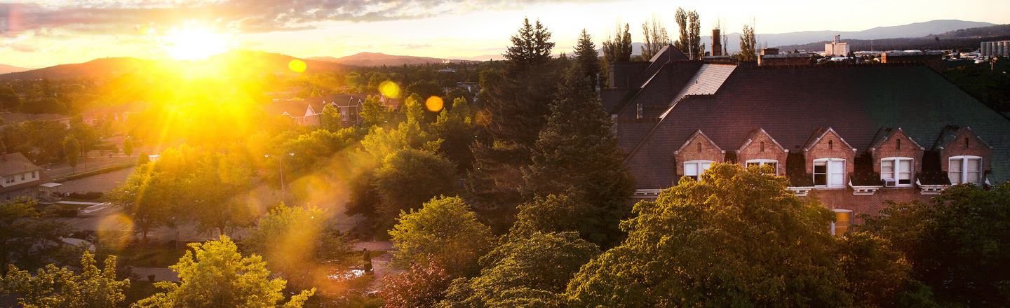sun rising over campus trees and roof