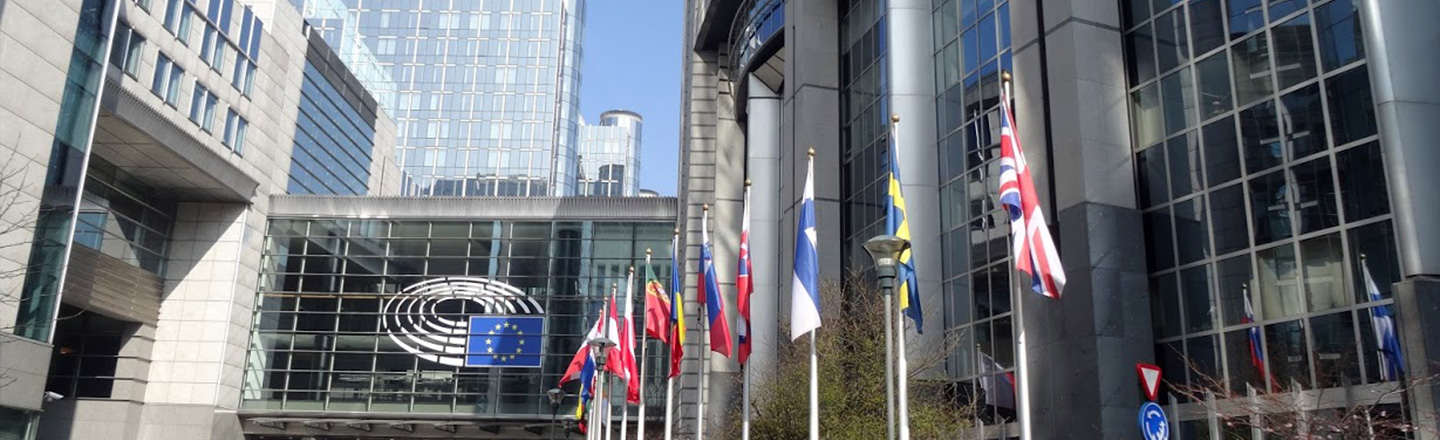 Global Leadership, Country Flags in front of Building, Brussels, Belgium