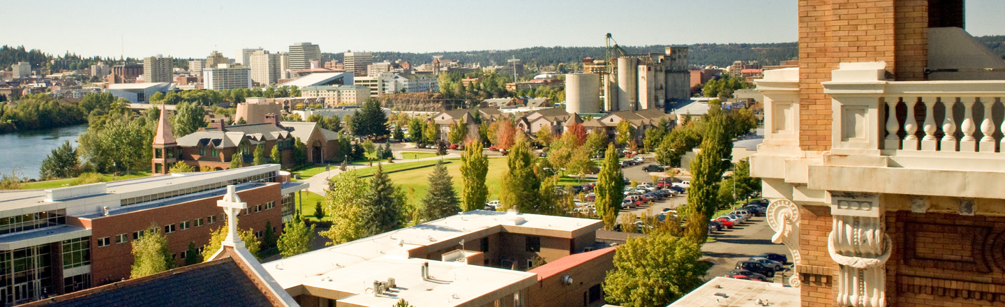 Southwest view of Spokane from campus rooftop